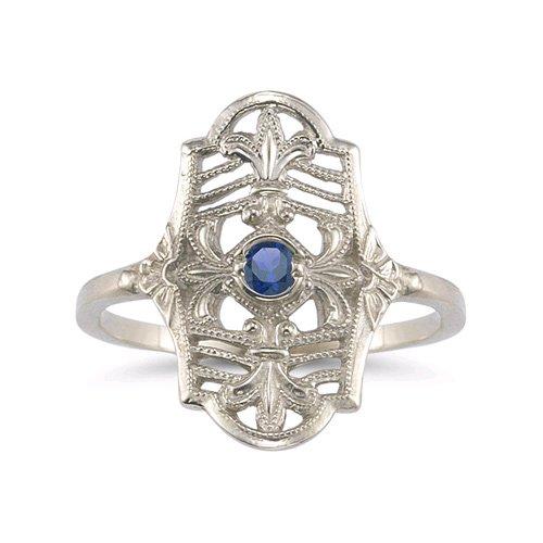 Vintage Fleur-de-Lis Sapphire Ring in .925 Sterling Silver