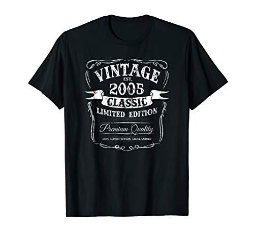2005 Classic Logo T-shirt - Vintage Est 2005 Classic 14th Birthday Special Edition Logo T-Shirt