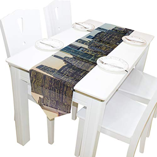 Table Linens Beautiful City Skyline Diamond Table Runner Farm Table Cloths for Kitchen Outdoor Decoration Decor Place Mats Table Overlays 13x90 Inch -