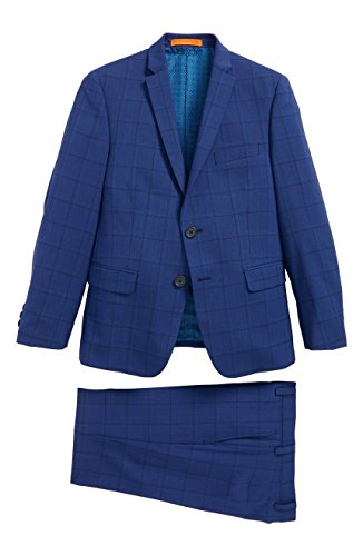 Tallia Boys Skinny Fit Windowpane Wool Suit 18 by Tallia Orange
