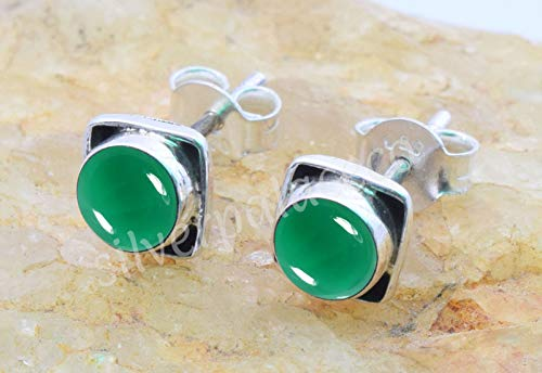925 Sterling Silver Green Onyx Stud Earrings- Girl Women Green Onyx Stone Gemstone Stud Post Earrings Jewellery