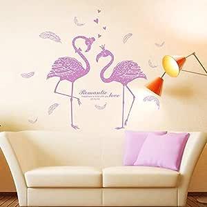 ملصقات الحائط القابلة للإزالة DIY لديكور غرفة المعيشة - عشاق الفلامينغو