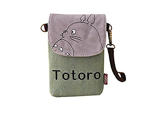 Wildforlife My Neighbor Totoro Canvas Phone Bag Pouch/Purse with Shoulder and Wrist Straps (Green) (Totoro Phone Strap)