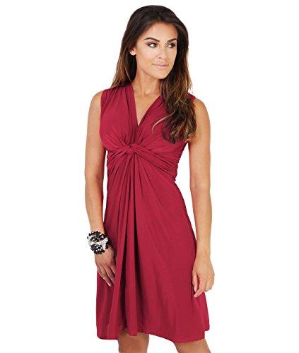 KRISP Vestido Corto Mujer Vuelo Casual Tallas Grandes Joven Elegante Otoño Vino (9354)