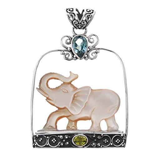- Blue Topaz Peridot Mother Of Pearl Shell Elephant 925 Silver Pendant, 2