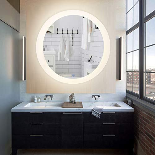 CO-Z Dimmable Round LED Bathroom Mirror, Plug-in Modern Lighted Wall Mounted Mirror -