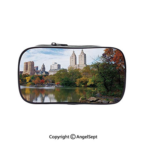 Cute Pencil Case - High Capacity,Manhattan Central Park Panorama in Autumn Scenic Lake View Colorful Trees Reflection Multicolor 5.1inches,Multifunction Cosmetic Makeup Bag,Perfect Holder for Pencils -