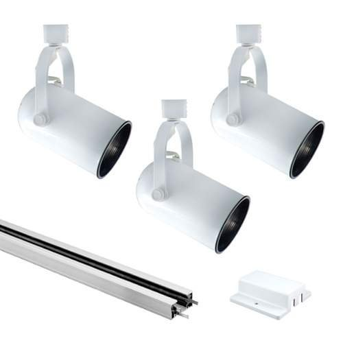 Jesco Lighting KIT-3HHV38WHWH 3-Light Track Lighting kit, White, 4'