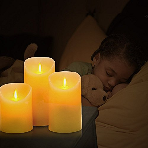 Flameless Candles, 4'' 5'' 6'' Set of 3 Real Wax Not Plastic Pillars, Include Realistic Dancing LED Flames and 10-key Remote Control with 2/4/6/8-hours Timer Function, 300+ Hours-YIWER (3, Ivory) by YIWER (Image #6)