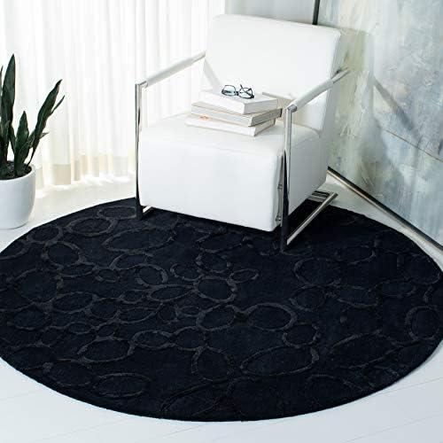 Safavieh Soho Collection SOH515B Handmade Black Premium Wool Round Area Rug 6 Diameter