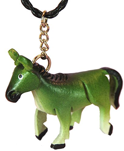Green Leather Necklace Charms - Mustang Horse - Clasp, Chain, Unique - Handmade Animal Gifts