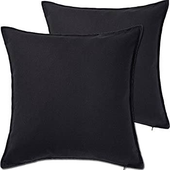 2 pack solid black decorative throw cushion pillow cover cushion sleeve for 20u201dx 20
