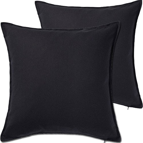 "Black Pillow - 2 Pack Solid Black Decorative Throw Cushion Pillow Cover Cushion Sleeve for 20""x 20"" Insert , 100 Percent Cotton"