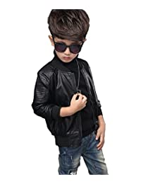 YoungSoul Childrens Boys Faux Leather Biker Jacket with Quilting Spring & Autumn