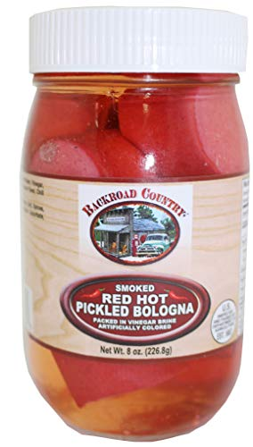 Sausage Bologna - Backroad Country Smoked Red Hot Pickled Bologna, 8 Ounce Glass Jar
