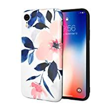 Ownest Compatible with iPhone XR Case for Girls Woman Leaves with Flowers Pattern Summer Romantic Beauty Elegant Soft Slim TPU Protective for iPhone XR-Peach Blossom