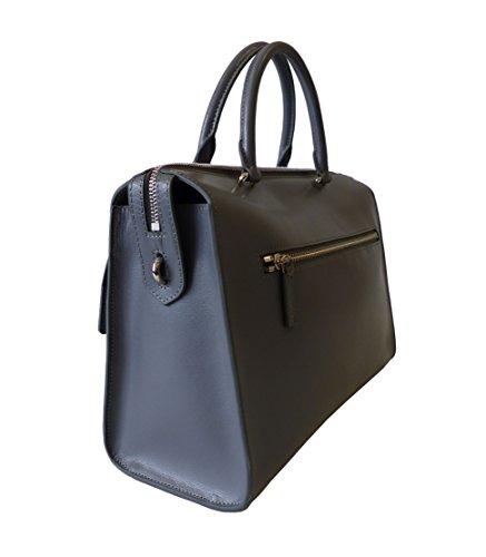 Lancaster Tasche Nami 530-10-Gris Damen Leder Handtasche Schultertasche Henkeltasche Grau (32x24,5x13 cm)