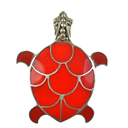925 Antiqued Sterling Silver Red Coral Inlay Sea Turtle Convertible Pendant to Brooch (Pin) Coral Sterling Silver Brooch