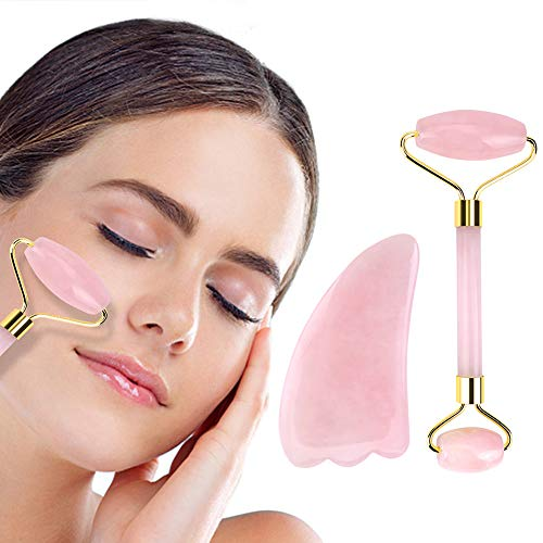 Jade Roller for Face 2 in 1 Gua Sha Tools Including Rose Quartz Roller and Healing Stone 100% Real Natural Anti Aging Jade Face Roller Massager by Deciniee
