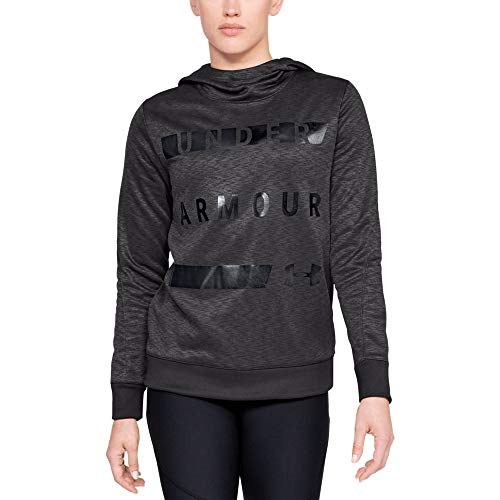 Under Armour Women's Synthetic Word Mark Fleece Pullover, Charcoal (019)/Black, Small
