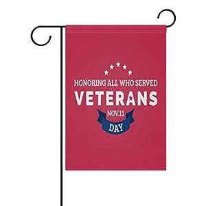 Cooper niña a honrar a los veteranos día patriótico decorativa jardín bandera Banner poliéster doble cara Bienvenido bandera estacional para interiores al aire libre 12x 18inch