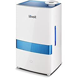 LEVOIT Cool Mist Humidifiers, 4.5L Ultrasonic Humidifier for Bedroom and Babies, Large-Capacity Vaporizer for Large Room, Whisper-Quiet, Auto Shutoff, 40 Hrs Working Time, Night Light, 2-year Warranty