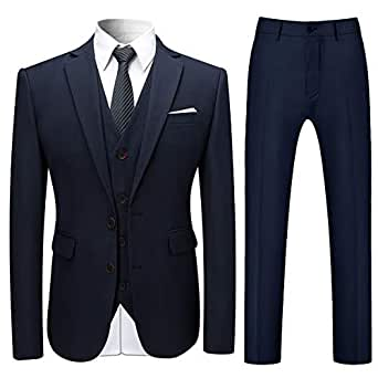 Cloudstyle Mens Stylish 3 Piece Dress Suit Classic Fit Wedding Formal Jacket & Vest & Pants - Navy - X-Small