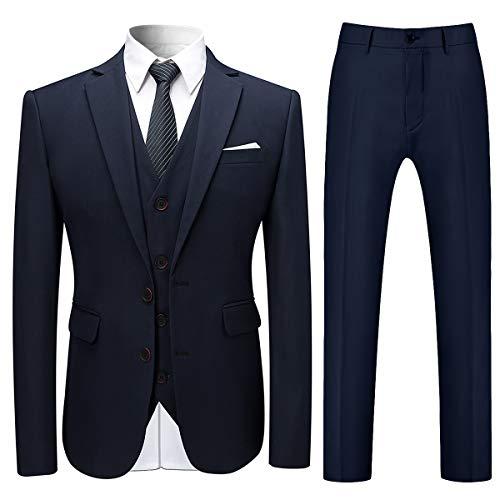 Mens Stylish 3 Piece Dress Suit Classic Fit Wedding Formal Jacket & Vest & Pants Navy