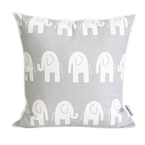 ABartonArtsale Elephant Accent Gray and White 9550 Zippered Pillow Cases Cover Cushion Case 18x18 Inch