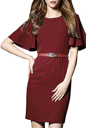 Azbro Mujer Vestido Ajustado de Moda Cuello Redondo Con Cinturón Burdeos