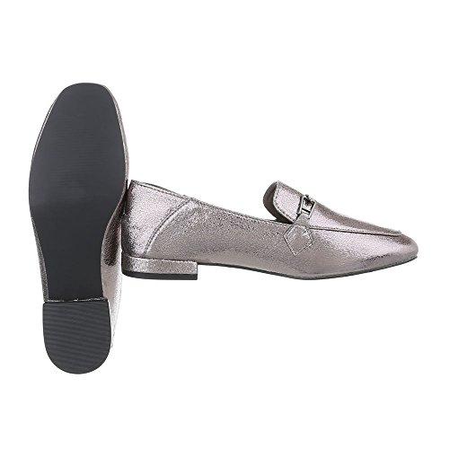 Ital-Design Slipper Damenschuhe Slipper Blockabsatz Moderne Halbschuhe Silber Grau 266-3