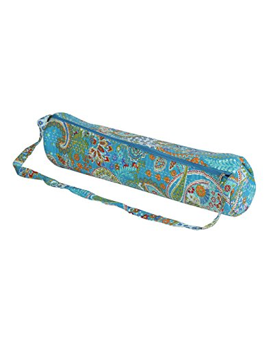 Online Cotton Turquoise Yoga Mat Bag Paisley Kantha Work For Womens By Rajrang