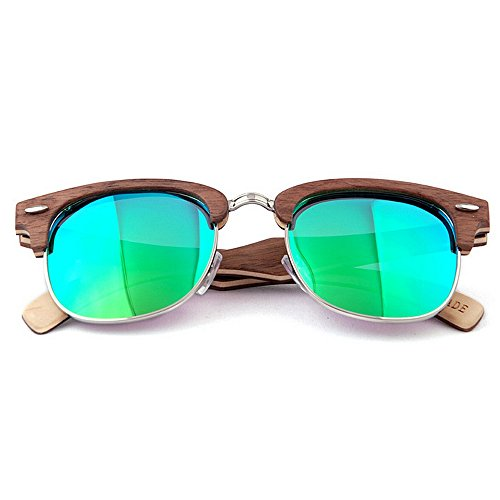 de hechas polarizadas decoración sin conduce gafas Retro de de UV de la sol hombres Remache gafas mano que reborde a los calidad sol de Verde de Sung alta Beach protección de sol la de madera gafas semi las tBt4Zwq