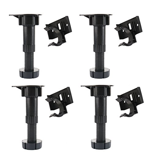 uxcell Adjustable Height Cabinet Cupboard Leg Foot for Kitchen Bathroom 4pcs