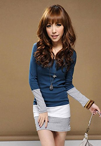 GOTD Womens Casual Long Sleeve Bodycon Stripe Cocktail Party Mini Dress (M, Blue) by GOTD (Image #1)
