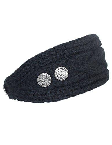 Dahlia Women's Winter Knit Headband - Button Accented - Black