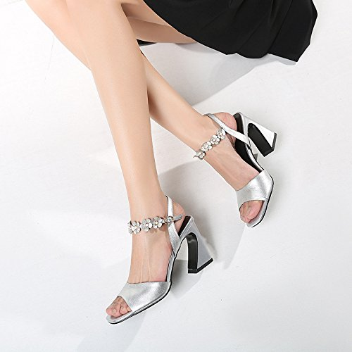 alti 37 Fashion Fiori tacchi Spessore bocca Donna Da pesce Moda Silver AJUNR Scarpe Alla metallo 38 9cm Sandali nxRwZ8APqa