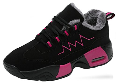 Unisex Winter Casual Plush Warm Sports Shoes Thick Students Cushion Cotton Net Shoes Black & Rose Red C# MGOCZX
