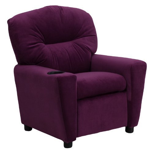 Contemporary Purple Microfiber Kids Recliner with Cup Holder [BT-7950-KID-MIC-PUR-GG] by Flash