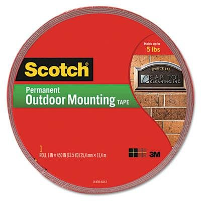Brand New Scotch Exterior Weather-Resistant Double-Sided Tape 1'' X 450'' Gray W/Red Liner