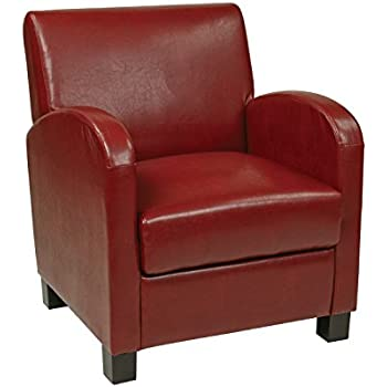 Superior Office Star Metro Faux Leather Club Chair With Espresso Finish Legs,  Crimson Red