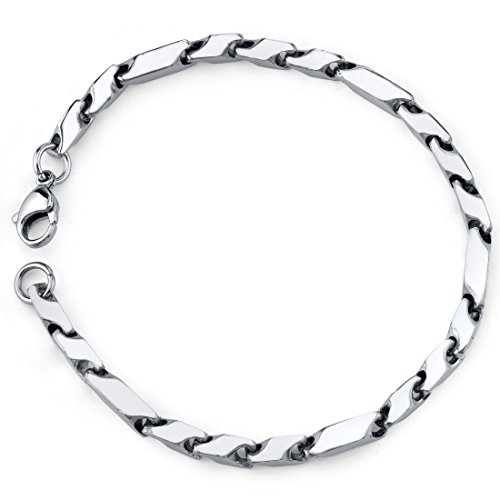 Peora Mens Stainless Steel Bracelet, Fancy 3D Arrow Link, College Graduation Gift for Him