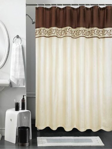 Cream Shower Curtain With Chocolate Brown Vine Embroidery And Brown Header