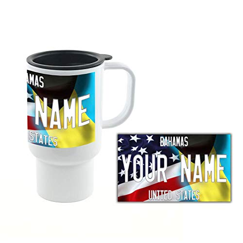 BRGiftShop Personalize Your Own Mixed USA and Bahamas Flag 18oz Travel Mug with Lid