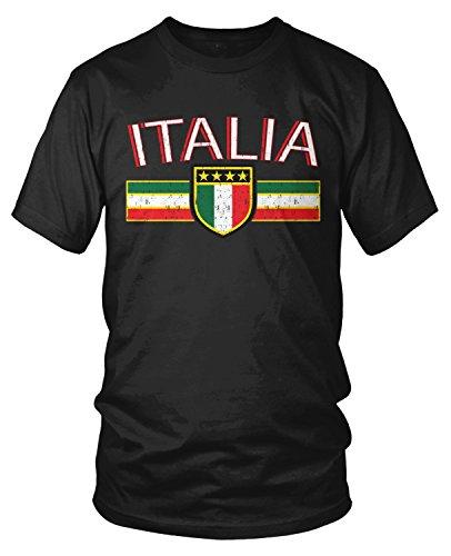Italy Flag T-shirt - Amdesco Men's Italia Flag and Shield, Italy Italian Pride T-Shirt, Black Large