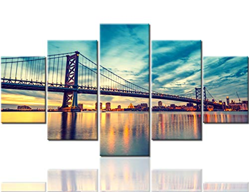 Philadelphia Cityscape Paintings The Benjamin Franklin Bridge Pictures USA Modern Artwork 5 Piece Canvas Home Decorations for Living Room Giclee Framed Ready to Hang(60''Wx32''H) ()