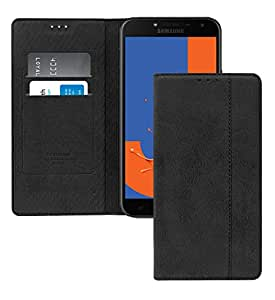 Samsung Galaxy J4 2018 rich BOSS Leather Stand View Flip Cover Case - Black