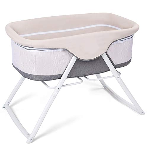 Costzon Baby Bassinet, 2 in 1 Lightweight Rocking Crib with Detachable & Washable Mattress, Breathable Side Mesh, Portable Oxford Carry Bag (Gray) For Sale