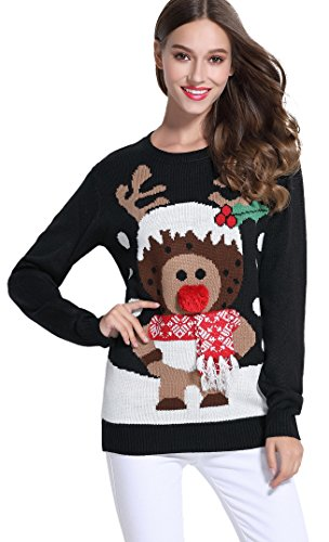 Women's Christmas Cute Reindeer Knitted Sweater Girl Pullover (Large, - Sweaters Christmas Ugly