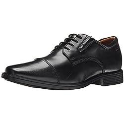 CLARKS Men's Tilden Cap Oxford Shoe,Black Leather,11.5 M US